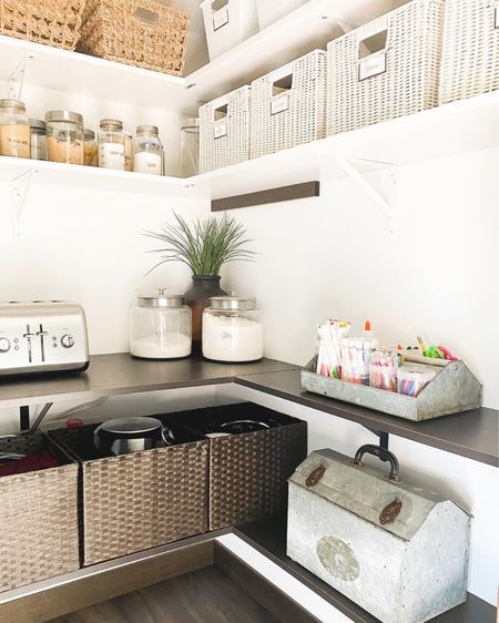 Pantry + back to school storage. My happy place. 😍   Follow me on the LIKEtoKNOW.it shopping app to get the product details for this look and others #LTKhome #LTKunder50 http://liketk.it/2WQm3 #liketkit @liketoknow.it