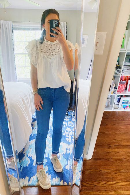The perfect comfortably cute outfit for a location shoot for work. This affordable white eyelet ruffle top was a recent target find. It's a bit thin but layered with a cami underneath you're good to go. I found it runs true to size and I'm wearing a small! Other outfit details are linked too on the @liketoknow.it app. #liketkit #LTKunder50 #LTKunder100 http://liketk.it/3d1wE