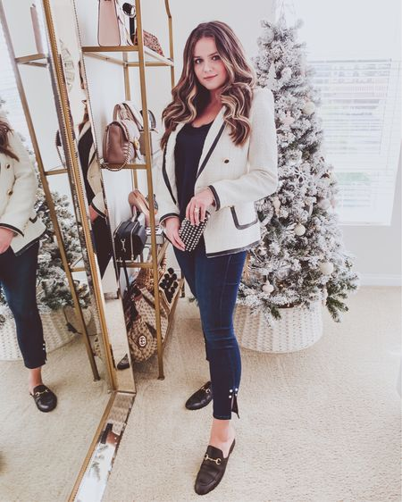 { forgot to post this before christmas - obsessed with these jeans with pearl accents on the sides ♥️♥️♥️ they're stretchy too, which is the best kind of denim 🙌🏻👖 http://liketk.it/2Jdvl #liketkit @liketoknow.it }