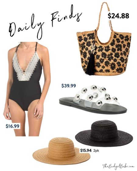 Daily finds! Crochet swimsuit one piece bathing suit, Marc Fisher clear stud sandals ($39!!), Walmart hats and beach bag tote http://liketk.it/3h4xl #liketkit @liketoknow.it #LTKunder50 #LTKsalealert #LTKswim