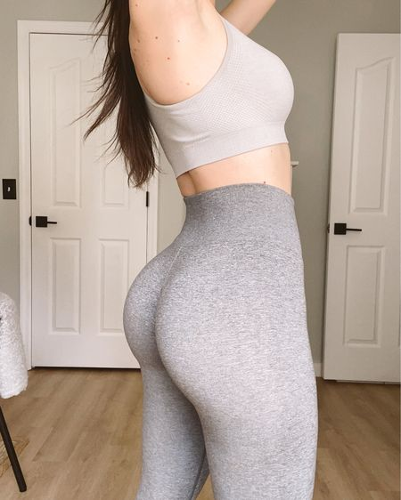 My favorite grey leggings! These just singe you in but still feel comfortable 🍑  http://liketk.it/38ePl #liketkit @liketoknow.it   #LTKfit #LTKcurves #StayHomeWithLTK