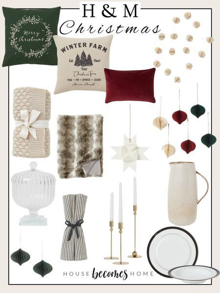 H&M Christmas decor! 🎄   Ornaments, blankets, dinnerware, candlesticks, pillows, H&M home, holiday   #LTKHoliday #LTKunder50 #LTKSeasonal
