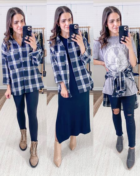 Fashion capsule week 1: ways to style a plaid button down - casually with leggings, over a black midi dress, around your waist for optional layer!   #LTKunder50 #LTKstyletip