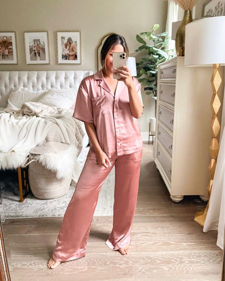 These matching pajamas from Soma are so cute and comfy and the satin fabric is so cooling! Wearing sz S! … #Pajamas #soma #pjs #loungewear   #LTKstyletip #LTKunder100 #LTKhome