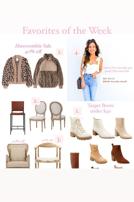 Favorites of the week, target combat boots, dining chairs, accent chair, Abercrombie leopard pullover, amazon tie strap top