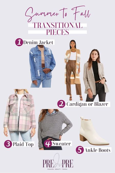 Transition your favorite summer outfits into the fall season with these five pieces. Read how to do easy-peasy season style changes on the blog www.predupre.com  http://liketk.it/3mWom  denim jacket, cardigan, blazer, plaid button down top, sweater, ankle boots, summer to fall, fall outfits, fall outfit ideas, fall looks, transition pieces   #LTKSeasonal #LTKstyletip