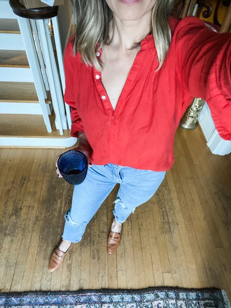 Every time I post this top I get asked about it! It's sold out, but I've link to similar one below! The jeans, however are my favorites of all time! They are in stock, linked below!  #LTKstyletip