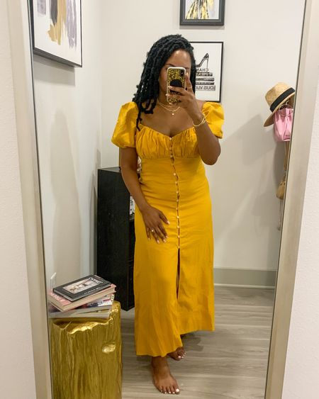 How adorable is this summer dress? Snapped a pic while doing the first try on and it's safe to say love at first sight! Runs true to size! Wearing a size large. Works as the perfect brunch dress or casual wedding guest dress! Also it's a great price for under $60    #LTKSeasonal #LTKwedding #LTKunder100