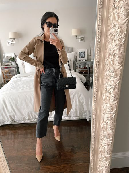 Straight leg jeans outfits for a petite frame // Everlane Cheeky jeans + Abercrombie trench coat in xxs petite (old)  •Everlane cheeky jeans 24 •Everlane boxy tee xs •similar Ann Taylor pumps linked  •similar petite trench coats linked (mine is old a&f)   #LTKstyletip http://liketk.it/3knKn #liketkit @liketoknow.it