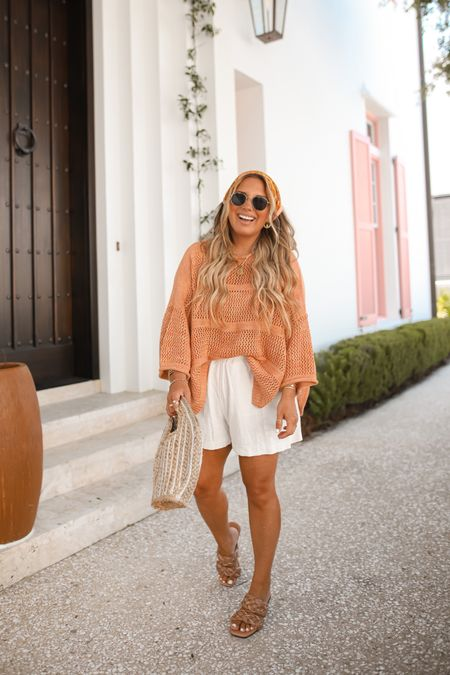 Crochet top from Target + linen shorts from H&M!! Still in love with my Amazon braided sandals + Walmart straw bag!!!  Wearing size medium in shorts.  #amazonfinds #amazonfashion #targetfashion #targetstyle #targetfinds #summerstyle #summeroutfit #vacaystyle   #LTKunder50 #LTKshoecrush #LTKtravel