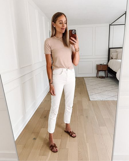 Daily look! Love this blush top (small / tts) and my favorite white jeans (tts) from Shopbop. Paired with my Hermès sandals (linked similar) #shopbop #summeroutfit #whitejeans   #LTKunder50 #LTKstyletip #LTKunder100