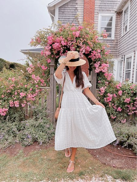 White midi dress with puff sleeves - can be worn in spring, summer or fall (with cute booties and a fedora) 🙌🏼 runs true to size!   #LTKtravel #LTKSeasonal #LTKunder100