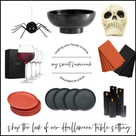 Today I've created a fall/Halloween table setting for you using mostly products from the dollar tree!  If you don't have a dollar tree or don't want to buy in bulk, I've linked up almost identical products for you here.  Be sure to check out the full tablescape  here:  https://mysweetsavannah.com/2021/09/ <https://mysweetsavannah.com/?p=10948&preview=true>dollar-store-hal…en-table-setting <https://mysweetsavannah.com/?p=10948&preview=true>.html <https://mysweetsavannah.com/?p=10948&preview=true>  Orange and black, stoneware, flameless candles, wine glasses, fake spiders, pottery barn bowl, skull, Halloween decor, dining room.   #LTKSeasonal #LTKunder100 #LTKhome