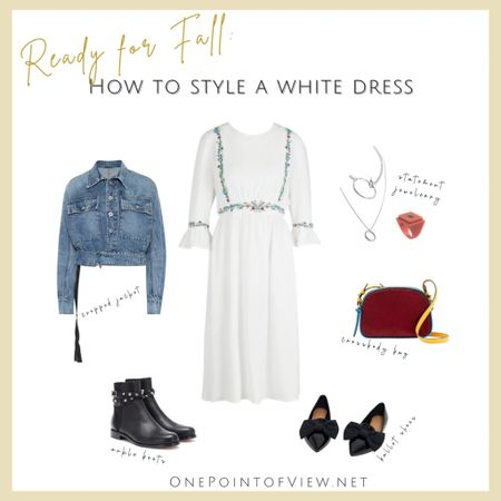 Fall outfit idea👌🏼😊 - white dress, fall fashion style, work outfit, work from home comfortable, ankle boots, ballet shoes, denim jacket, camera bag, statement jewelry  http://liketk.it/2XbWC #liketkit @liketoknow.it #StayHomeWithLTK #LTKitbag #LTKstyletip