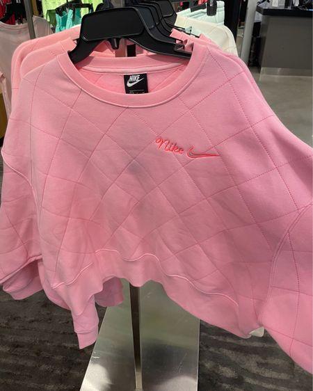 Nike quilted pink crew neck @liketoknow.it http://liketk.it/3gBR1 #liketkit #LTKunder100