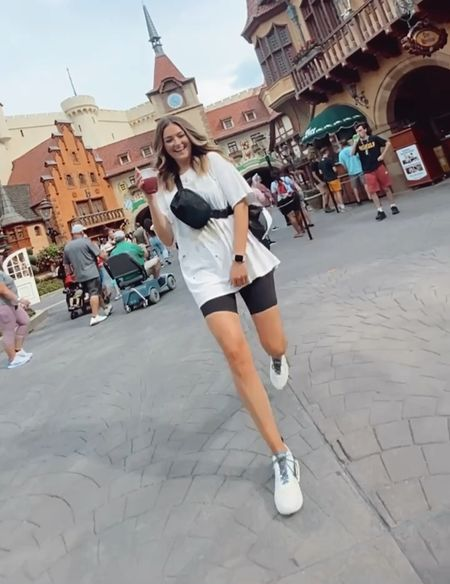 Disney outfit! Urban Outtfitters graphic tee. Lululemon belt bag & align bike shorts.