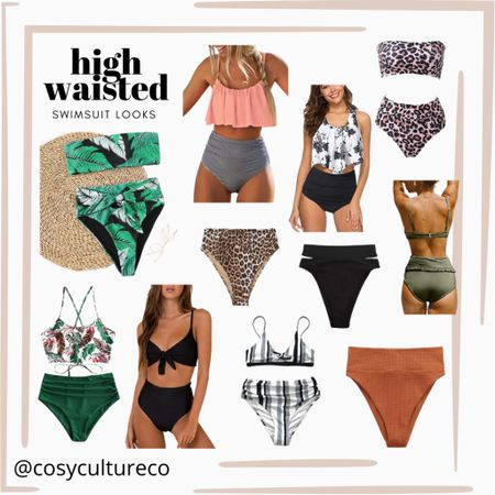 High waisted swimsuit looks!   Swim / bathing suit / summer     #LTKstyletip #LTKunder50 #LTKSeasonal