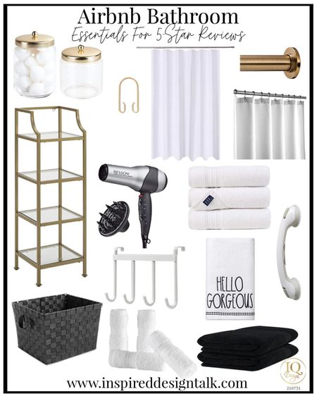 Bathroom decor for your Airbnb.  Bathroom inspiration, home decor, bathroom design, bathroom essentials, bathroom mirror, amazon finds   You can instantly shop my looks by following me on the LIKEtoKNOW.it shopping app   #LTKtravel #LTKbeauty #LTKhome