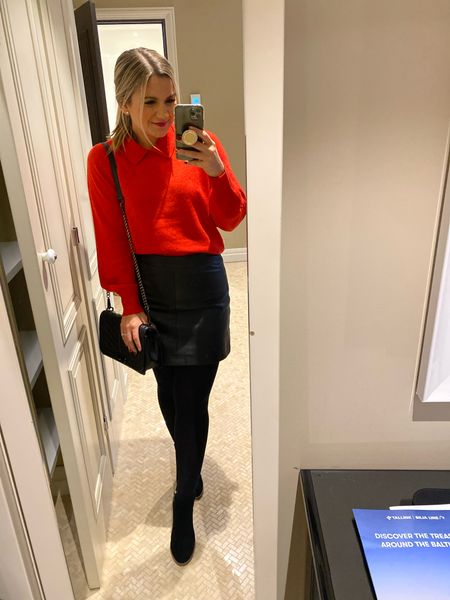 Red collared sweater and leather skirt, fall outfit, fall dinner look