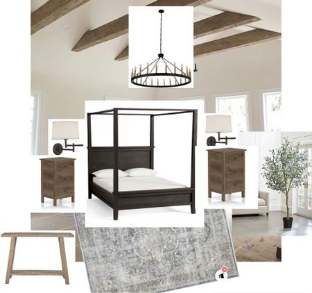 Slight changes to my master bedroom mood board for the one Room Challenge, but sometimes you have to roll with it. The nightstands I had saved were out of stock and I couldn't find the basket light that I REALLY envisioned for this room.  The beams were estimated at $1600 so.... I'm currently brainstorming on how I can still achieve this look without breaking the bank!  #LTKstyletip #LTKfamily #LTKhome