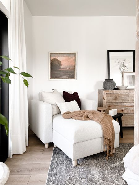 I loved updating this bedroom corner with this simple modern chaise! The clean modern lines of the dresser add just enough rustic to warm things up and make the corner come alive with all the cozy details!   #LTKhome #LTKunder100 #LTKSeasonal