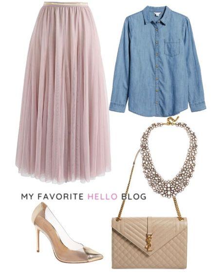 Tulle skirt outfit girly with chambray shirt. Tulle skirt with chambray shirt and ysl bag and schutz clear heels http://liketk.it/3gcXw #liketkit @liketoknow.it  #nordstrom #tulleskirt #shutz #yslbag #chambrayshirt  #LTKstyletip #LTKshoecrush #LTKitbag