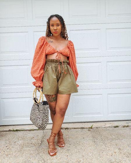 Shorts  sandals  heels  puff sleeve  balloon sleeve  orange  green  high waist  2 piece set  animal print  strappy heel  kitten heel  crop tops   #LTKunder100 #LTKunder50 #LTKsalealert