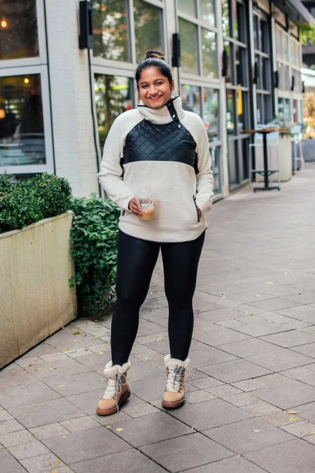 Abercrombie snap up fleece sweater on sale, fuzzy sweaters, Spanx faux leather legging, fall outfits, fall weekend style, cold weather essentials   #LTKHoliday #LTKstyletip #LTKsalealert