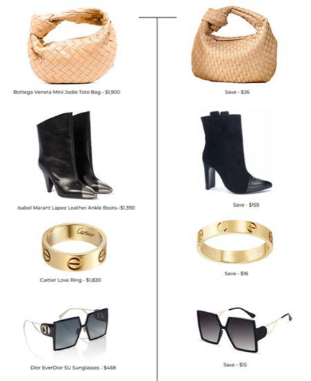 Designer Inspired Looks for Less. Amazon finds. Amazon dupes. Bottega Veneta Tote bag. Leather woven bag. Isabel Marant Blck ankle boots. Cartier gold love ring. Dior sunglasses. Oversized black sunglasses. Women's fashion.  #LTKunder50 #LTKitbag #LTKshoecrush