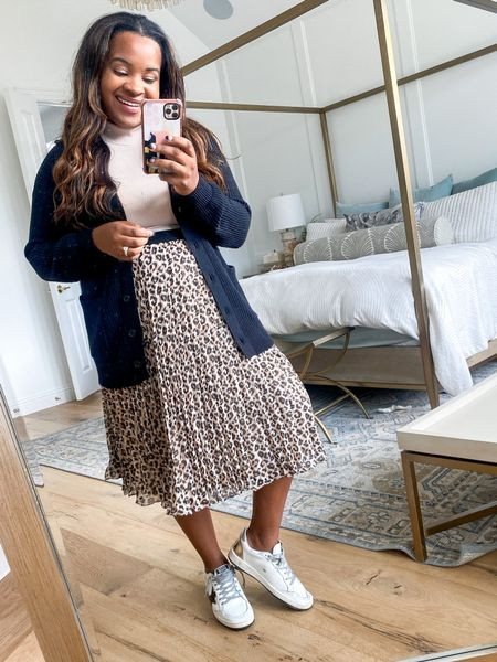 Should I keep or return? Amazon pleated animal print skirt for $31. Wearing size large in skirt. Use code: TARYN20 for 20% off my turtleneck    #LTKfit #LTKSeasonal #LTKunder50