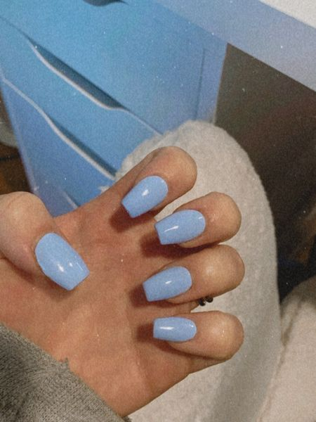 If you like Essie Bikini So Teeny, you'll love DND Blue Bell! Set comes with gel + regular polish. Short coffin shape is my jam ⚰️   Steps: 1. Prep nails 2. Apply acrylics 3. Paint gel base coat, cure 4. Paint gel color, cure [2 coats] 5. Paint top coat, cure   Shop my daily looks by following me on LIKEtoKNOW.it 🤍✨ http://liketk.it/3iO5G #liketkit @liketoknow.it #LTKbeauty #LTKunder50   periwinkle nail polish, periwinkle nails, best gel lamp, best uv lamp, best gel uv lamp, periwinkle gel nails, periwinkle gel polish, blue bell gel, blue bell gel nail polish, blue bell gel polish, blue bell acrylics, coffin shape acrylics, short coffin nails, coffin nails, coffin acrylics, diy gel nails, diy acrylics, diy full set, diy coffin nails, gel coffin nails, nail inspo, blue nails, light blue nails, baby blue nails, long coffin nails, powder blue nails, blue gel nails, light blue gel nails, baby blue gel nails, blue coffin nails, periwinkle coffin nails, baby blue coffin nails, powder blue coffin nails, light blue coffin nails, dnd gel polish, dnd gel, essie bikini so teeny gel, gel lamp, gel uv lamp, gel curing lamp, diy gel lamp, inexpensive gel lamp, affordable gel lamp, affordable diy nails, easy diy nails, boucle desk chair, boucle office chair, fuzzy office chair, fuzzy desk chair, white office chair, white desk chair, cream office chair, cream desk chair, ikea Alex drawers, ikea Alex desk, white desk, white office desk, white computer desk, white computer chair, cream computer chair, trendy nails, trendy nail inspo, kardashian nails, Jenner nails