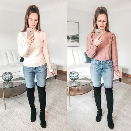 Pink or Off White? Both colors are on sale for only $10!  This cute puff sleeve sweater is a great deal - and looks great styled with jeans and black over the knee boots. . . SHOP MY LOOK: 1️⃣ Use this link: http://liketk.it/346r5  2️⃣ Download and follow me (@dailystylefinds) on the FREE @liketoknow.it app 3️⃣ Screenshot this photo 4️⃣ Click the link in my profile . . #LTKunder25 #over40fashion #fashionover40 #overthekneeboots #wintertrends  #outfitinspo #affordablefashion #affordablestyle #F21xMe #liketkit