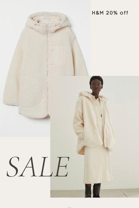 H&M 20% off sale - cozy sherpa fleece jacket, fall, winter   #LTKunder100 #LTKunder50 #LTKsalealert