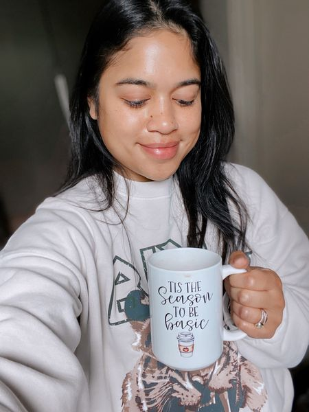 Tis the season to be basic! Love this fall mug and this cozy sweatshirt for sweater season! Casual style / fall outfit    #LTKstyletip #LTKhome #LTKSeasonal