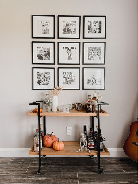 Halloween bar cart Black gallery wall frame set Black bar cart   #LTKhome #LTKSeasonal #LTKSale