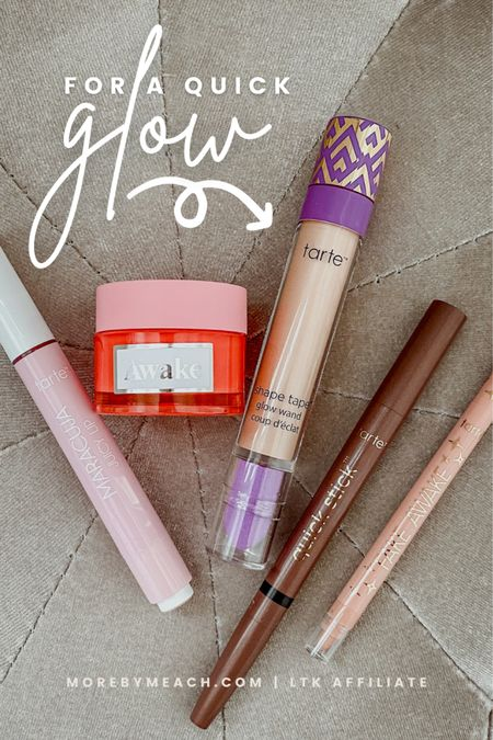 Tarte makeup products for a quick natural makeup glow: tinted lip balm, overnight lip balm, glow wand concealer, eyeshadow pencil and eyeliner duo, nude eyeliner. These will all be 25% off during the LTK early gifting sale so save this post! The sale launches tomorrow (the 19th)!   #LTKbeauty #LTKSale #LTKHoliday