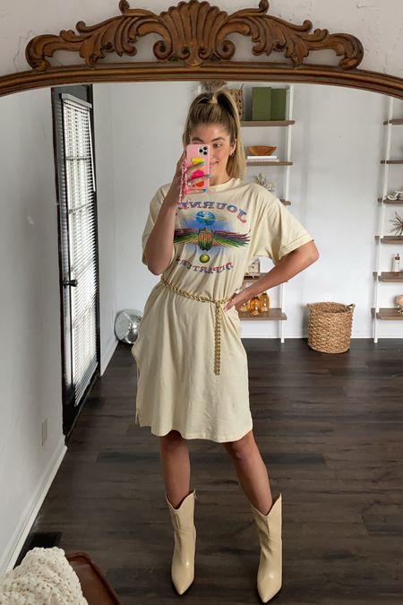 My new fav Tshirt dress paired with a gold chain belt ✨ wearing a Medium dress + belt!  #LTKunder100 #LTKstyletip #LTKshoecrush