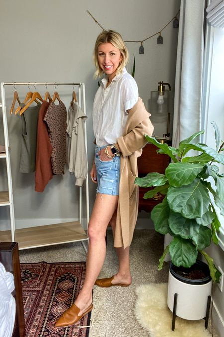 http://liketk.it/3by0J #liketkit @liketoknow.it  My Spring Capsule 2021 -white button up shirt  -camel coatigan -denim shorts  -mules   #LTKstyletip #LTKunder100 #LTKworkwear