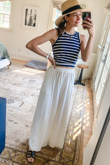 Comfiest pool/summer outfit! So breezy in these wide leg pants. Lounge pants, swim coverup   #LTKswim #LTKunder100