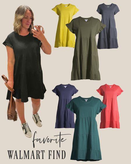 Walmart dress that will transition perfectly to fall. Add a denim jacket or sweater. 🙌🏼 Walmart find, flutter sleeve dress. No need to size up. Runs big   #LTKstyletip #LTKbacktoschool #LTKfit  #LTKstyletip #LTKSeasonal #LTKfit