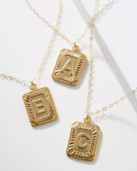 Monogram necklace Initial necklace Gold necklace Gold pendant Gold jewelry Accessories Everyday style Anthro Anthropologie  http://liketk.it/37FDG #liketkit @liketoknow.it #LTKVDay #LTKunder50 #LTKunder100