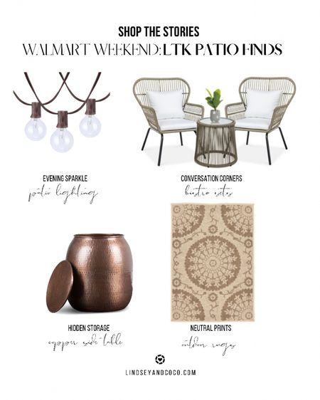 Walmart Patio Finds: 3 piece wicker bistro set. Outdoor string lights. Outdoor neutral rug. Outdoor copper side table & storage.  Shop this pic below. Follow @lindseyandcoco on @liketoknow.it for more deals and sales. So glad you're here💕   http://liketk.it/3i0SE #liketkit #LTKhome #LTKsalealert @liketoknow.it.home
