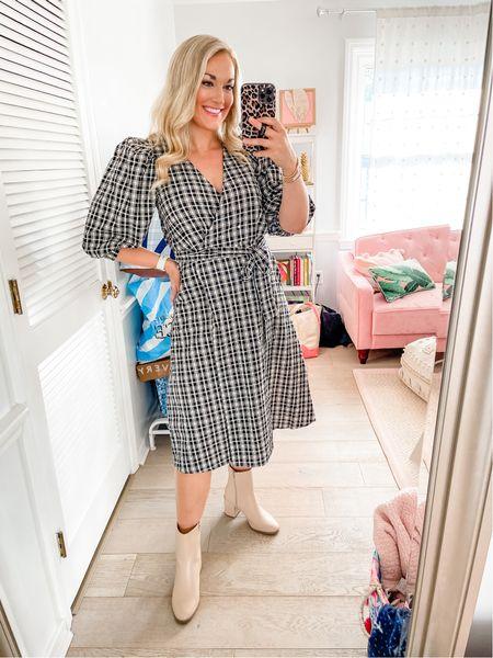 Target plaid midi puff sleeve wrap dress cream ankle block heel booties fall transition   #LTKunder50 #LTKstyletip #LTKSeasonal