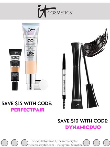 It Cosmetics bundle deals - discount codes below  Get your shades in Your Skin But Better CC Cream & Bye Bye Under Eye and save $15 with code: PERFECTPAIR  Get your shade in Brow Power & Superhero Mascara and save $10 with code: DYNAMICDUO  Makeup, beauty products, concealer, foundation, brow pencil    http://liketk.it/3i1U1  #liketkit @liketoknow.it #LTKbeauty #LTKsalealert #LTKunder50