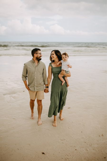 This week has been rough for the Woodlee household, but I am so grateful to have these sweet guys by my side ❤️  We got our family photos back a few days ago and I am all in my feels with how cute they turned out 🥺 I LOVE how the shades of green turned out against the beach (not pictured- the MASSIVE storm cloud to the left of us 😂)  Outfits are all $50 or less and linked in my bio!  #LTKbaby #LTKfamily #LTKunder50