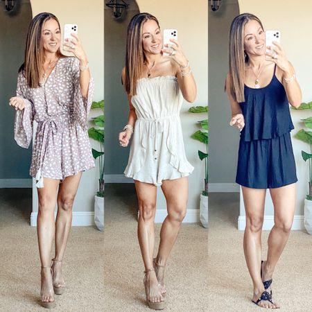 """Pink Lily romper & clear wedges perfect for all occasions. Wearing an xs in the first one and small in other two styles. . I'm 5'1"""" and it's a perfect fit!  Wedges run tts. Save 15% code JUNE15  •summer style • summer outfit • summer fashion • amazon fashion • easy outfit • comfy style • casual • everyday outfit• outfit ideas • mom style • petite  • affordable outfit    #LTKsalealert #LTKunder50 #LTKstyletip"""