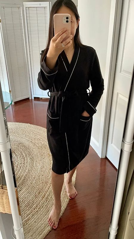 """Waffle knit texture bathrobe (I took size XS and I'm 5' 2.5"""") which was a gifted item from Amazon. Not too thick so it's a comfortable weight across seasons.  #LTKunder100 #LTKunder50"""