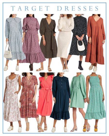 Target dresses, fall midi dress, maxi dress, long sleeved dress   #LTKunder50 #LTKunder100 #LTKSeasonal
