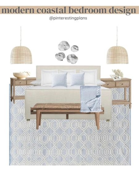 Modern coastal bedroom design!   Shared a blog post with a rug size guide for king and queen beds 👉🏼 https://www.pinterestingplans.com/how-to-choose-the-right-rug-size-for-your-bedroom/   #LTKhome #LTKstyletip #LTKunder100   http://liketk.it/3kMZH #liketkit @liketoknow.it