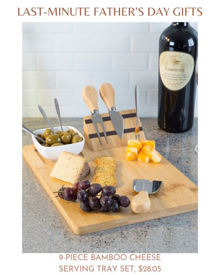 For the dad who loves his wine and cheese, Classic Cuisine's 9-Piece Bamboo Cheese Serving Tray Set is the ideal last-minute Father's Day gift.  The 9-Piece Bamboo Cheese Serving Tray Set features a bamboo tray with a magnetic wedge, three skewers, a serving fork, a soft cheese spreader, a flat edge shaver, a wedge knife, and a dip dish for dips, spreads, or relishes.   Classic Cuisine's 9-Piece Bamboo Cheese Serving Tray Set would be convenient for classy get-togethers or a movie night at home.  You can find Classic Cuisine's 9-Piece Bamboo Cheese Serving Tray Set for $35 at Walmart.  #LTKSeasonal #LTKunder50 #LTKhome